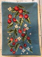 Vintage Complete Needlepoint Piece Cherries White Flowers Blue Rectangular