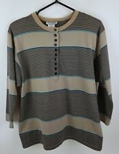 Katies Vintage 80s Brown Striped 3/4 Sleeve Button Up Top Size 12 Shoulder Pads