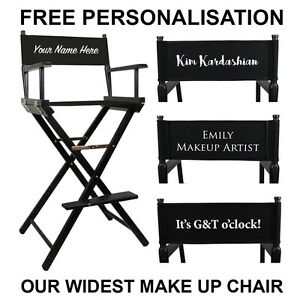 Premium Tall Portable Folding Makeup Artist Chair with FREE PERSONALISATION