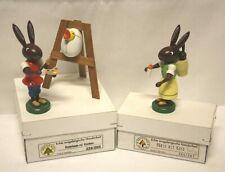 Set of 3 Piece Erzgebirgische Handarbeit Easter Rabbit Bunny Paint Baby Germany