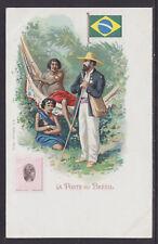 Kunzli mint PPC. 1900 La Poste au Brésil. Brazil Letter Carrier, Flag & Stamp