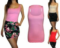 Womens Ladies New Godet Style Long Tall Loose Vest Tank Top Cami Size UK 8 12 14
