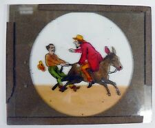 Antique Hand Painted Lantern Glass Slide Man On Donkey