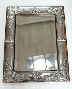 """Large Italian VALORI Wall Mirror Sterling Silver frame Hand chased floral 27"""""""