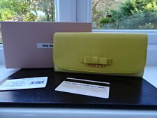Gorgeous 100% Authentic Miu Miu Gold & Yellow Two Tone Bow Leather Purse Wallet