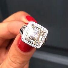 15.27Ct Cubic Zirconia Engagement Ring Transparent Asscher & Round Shape Shiny