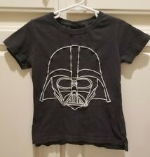 KIDS STAR WARS DARTH VADER T SHIRT SIZE 5 EMBROYDERED DARTH BLACK W WHITE DISNEY