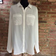 John Lewis 100% silk shirt white with navy dots, UK 18