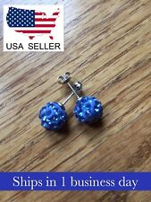 Crystal Glass Stud Earrings (Blue) ~ US Seller ~ BRAND NEW (Quick Ship)