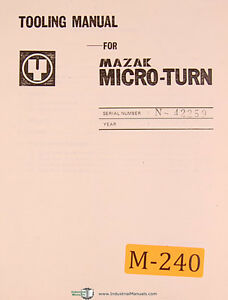 Mazak Micro Turn, Tooling Manual S/N N-42259