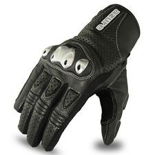 Motocross Gloves Leather Racing Off Road Enduro MotorBike TPU Knuckle BLK, Large