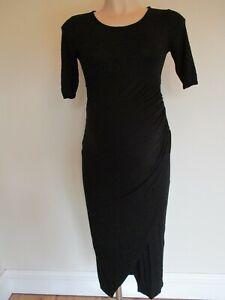 ISABELLA OLIVER MATERNITY BLACK SMART WRAP EFFECT RUCHED DRESS SIZE 2 UK 10