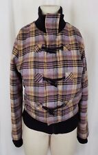 Golf Punk Tartan Scotch Plaid Wool Toggle Closure Fleece Bomber Jacket Womens 12