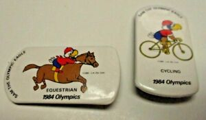 2 Vintage Sam the Eagle 1984 Olympics Equestrian & Cycling Pinback Button Pins