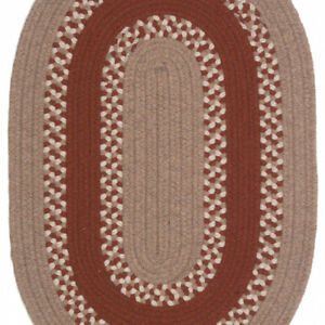 Corsair Banded Natural Red Wool Blend Oval Country Cottage Braided Rug