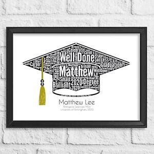 Personalised Graduation gift, Mortarboard, University Word Art Degree present