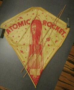 Vintage ATOMIC ROCKET Cloud Buster Paper Kite Northwestern Kite Company w Stick