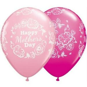 """Happy Mothers Day Floral Damask Pink 11"""" Qualatex Latex Balloons"""