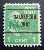 Sc # 804 ~ 1 cent Washington Issue, Precancel, OAKHARBOR OHIO
