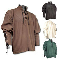 Medieval Renaissance Viking Men Tunic Tops Shirts Pirate Knight Cosplay Costume