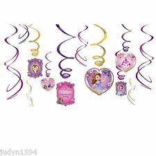 PACK OF 12 SOFIA THE FIRST PRINCESS PARTY SWIRLS HANGING DECORATIONS WHIRLS