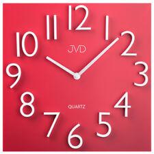 JVD HB18 Wanduhr Quarz analog Metall rot viereckig modern Magnetzahlen