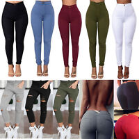 Womens High Waisted Stretchy Jeans Denim Pants Jeggings Skinny Pencil Trousers