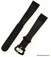 VTG 40s NOS Vented Black Leather Black Buckle 16mm Tapered Long Watch Band