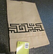 "Kitchen or Bar Towel ""Urban Jungle"" Embroidered Native Geometrical Design Beige"