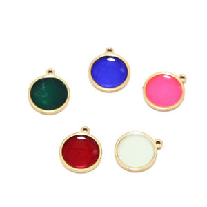 20pcs Gold Plated Stainless Steel Round Charms for DIY Jewelry Making 14x12mm
