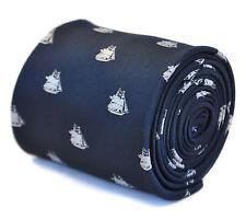 Frederick Thomas navy blue tie with olde english royal HMS ship design FT2130