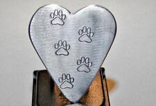 Paw Print Guitar Pick Handmade from Aluminum in Heart Shape