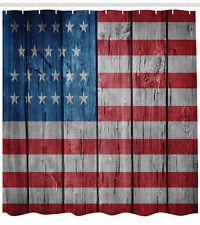 Usa American Flag Retro Pattern Bathroom Fabric Extra Long Shower Curtain