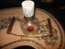 VINTAGE MID-CENTURY MODERN TEAK WOOD BOTTLE WARMER COFFEE TEA GOLD METAL CADDY