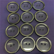 Buttons 2 Hole Transparent Silver Edge 10 Buttons 22mm