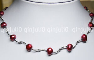 Natural 8-9mm Dark Red Baroque Freshwater Pearl Necklaces 16 inches