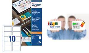 Avery Visitenkarten-Etiketten Etiketten weiß matt 200g 85x54 250 Stück Drucker