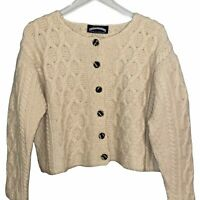 Dublin Woollen Mills Wool Knit Button Up Sweater. Size: Medium Made in Ireland!