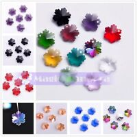 10pcs 14mm Snowflake Pendant Drilled Faceted Crystal Glass Spacer Loose Beads
