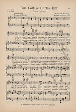 """Vtg UNION COLLEGE song sheet 'COLLEGE ON THE HILL"""" SCHENECTADY, NY  c1931"""
