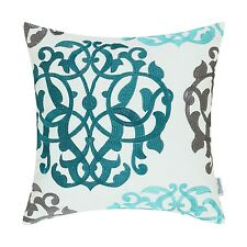 White Cotton Canvas Three-tone Floral Geometric Embroidered Cushion Covers 45cm