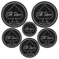 Cafe Racer Ton up Sticker set Black Silver Motorcycle Helmet Bikers Decal