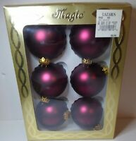 """Rauch Victoria - Box of 6 Shiny RED Glass Christmas Ornaments 2.5"""""""