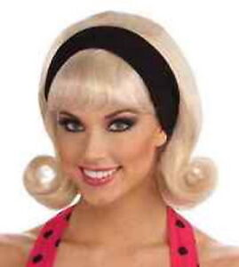 50's-60's Ladies Flip Curl Wig With Headband Synthetic Hair Retro Costume Wig
