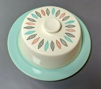 "Vtg Mid Century Marcrest Butter Dish Bowl W/Lid 7 5/8"" D Hard to find pattern!"