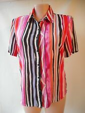 Noni B size 16 pink white black striped shirt top short sleeves