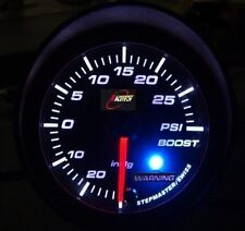 """2"""" Race Tech 52mm Electrical Boost Gauge with Warning TURBO Meter WHITE LED -PSI"""