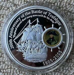 Battle Of Trafalgar 5oz Pure Silver Coin Cook Islands Ten Dollars