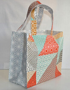 Handmade bonded cotton/Vinyl small tote bag, Lunch, party/gift bag - Geometric