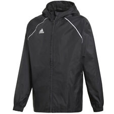 adidas Mens Core Rain Jacket Hooded Waterproof Sports Football Training Coat Black S
